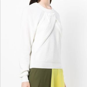 Carven Sweater Drape Cable Knit Crew Neck Pullover